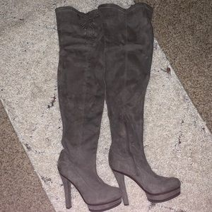 Gray Suede Thigh-High High-Heeled Boots